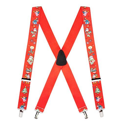SuspenderStore Mens Santa Novelty Christmas Suspenders (3 Sizes, 3 Colors)