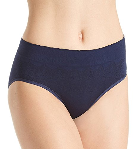 Vanity Fair Women's No Pinch-No Show Seamless Hip Brief Panty 18170, Ghost Navy Lace, Medium/6