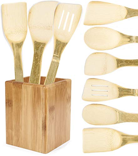 Neet Unshaved Organic Bamboo Cooking Utensils - 7 Piece Set Utensil Holder Organizer - Rice Paddle - Wooden Cooking Spoon & Spatula Kitchen Unique Wood Gift Idea