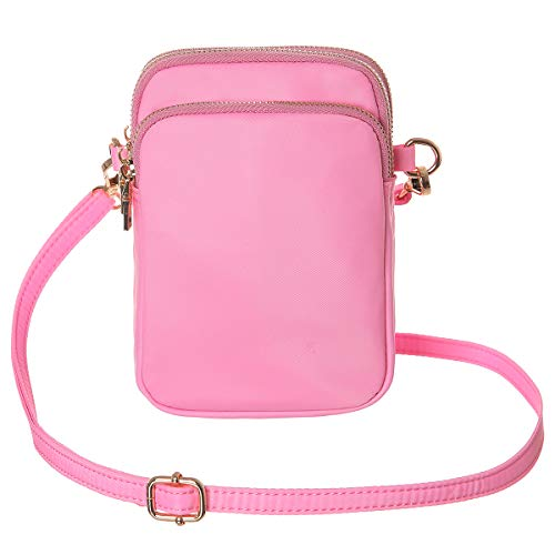 HAIDEXI Lightweight Nylon Small Purses and PU leather Small Crossbody bag Cell Phone Purses Wallet for Women (A-Pink)