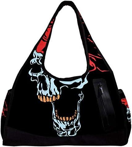 スポーツバッグ ダッフルバッグ ボストンバッグ ジムバック 旅行バッグ 大容量 軽量 アウトドア ユニセックス 髑髏 ドクロ スカル 人気