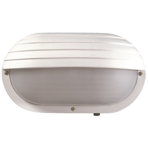 Sunlite 47210-SU DOD/EBH/WH/FR/MED Decorative Outdoor Eurostyle Oblong Hooded Polycarbonate Fixture, White Finish, Frosted Lens