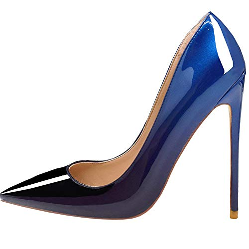 Lovirs Womens Blue-Black Pointed Toe High Heel Slip On Stiletto Pumps Wedding Party Basic Shoes 7 M - Heel High Blue