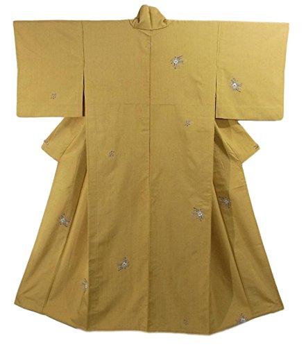 リサイクル 着物 付下 ひとえ 正絹 染め紬 一つ紋 椿に蝶 裄65.5cm 身丈151cm