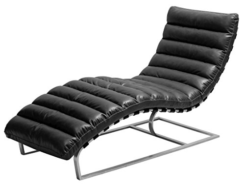 New Pacific Direct Cavett PU Leather Chaise Lounge,Brushe...
