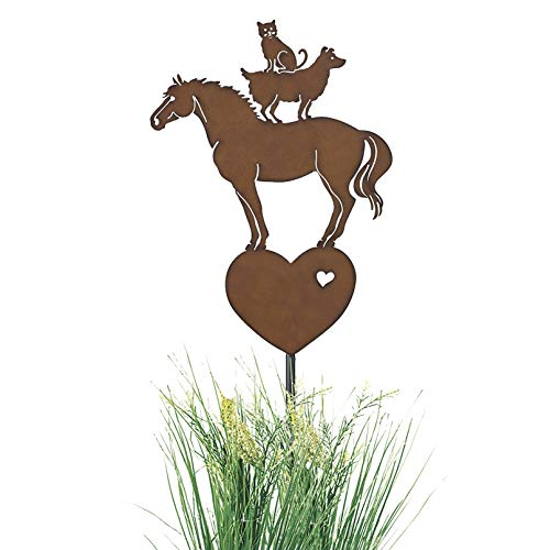 PGI Traders Horse, Dog and Cat Balancing Act Garden Stake for All Weather, Patio or Yard; Cut from Solid Iron Metal
