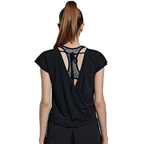 Manches À Yoga Noir Courtes shirt T Alizeal Rond Pour col Femmes RqXcwT1IY
