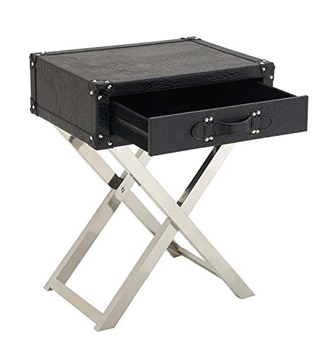 Deco 79 70666 Stainless Steel Leather Fold Table, 20