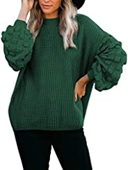 Sovoyontee Women's Cute Oversized Crewneck Loose Puff Sleeves Chunky Knit Pullover Swe