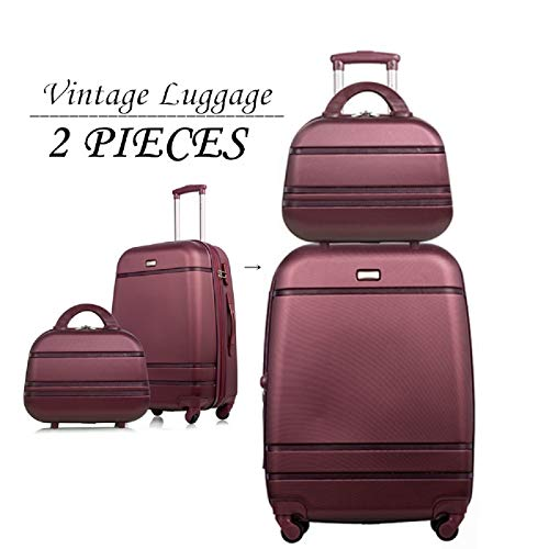 Luggage 2 Piece Set Vintage Style Softshell Lightweight Expandable Carry On Rolling Suitcases Sets Wine Red (Lightweight Womens Luggage Set)