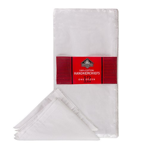 Westward Ho. Coton hommes Mouchoirs de finition Coutures et Ourlets, Lot de 12, blanc