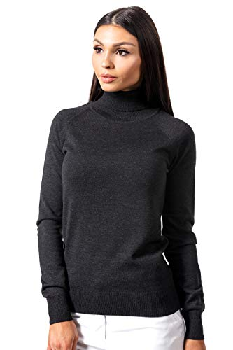 (KNITTONS Women Italian Merino Wool Turtleneck Sweater Long Sleeve Pullover (Medium/US 8-10, Black Melange))