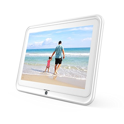 HP df1050tw 10.1 inch WiFi Digital Photo Frame with HD Display, iPhone & Android App, 8GB Internal Storage, SD Card, Memory Drive Slots, Stereo Speakers – White