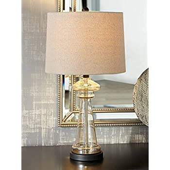 Dalia Modern Table Lamp Clear Champagne Gold Glass Taupe