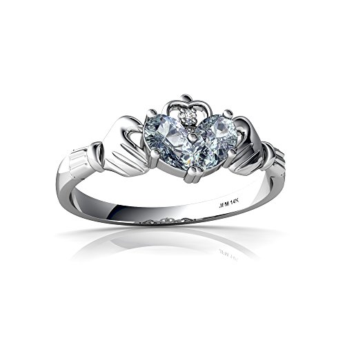 14kt White Gold Aquamarine and Diamond 5x3mm Pear Claddagh Ring - Size 8
