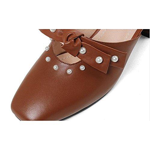 Retro Shoe Archi Grosso Tacco Dimensioni Sandali Alto Scarpe store col Colore Caramel Estate Coreano Stile Ciabatte Primavera 37 Baotou e Air Donna rIwrq