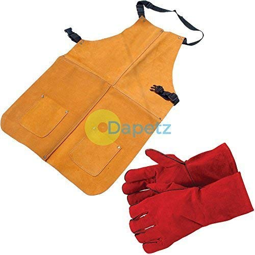 Dapetz ® New Welders Welding Apron & Gauntlets/Gloves Heat Resistant - Oven, Stove, Wood Burning, Aga, Rayburn