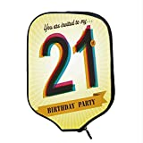 YOLIYANA 21st Birthday Decorations Durable Racket Cover,Invitation to an Amazing Birthday Party on Golden Backdrop Image for Sandbeach,One Size