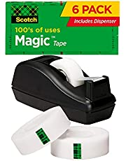 Scotch Magic Tape, 6 Rolls with Dispenser, Numerous Applications, Invisible, Engineered for Repairing, 3/4 x 1000 Inches, Boxed (810C40BK) Black