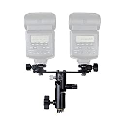 Interfit Photographic STR144 Twin Metal Umbrella Bracket with 2 Metal Adjustable Flash Shoes for Flash Units