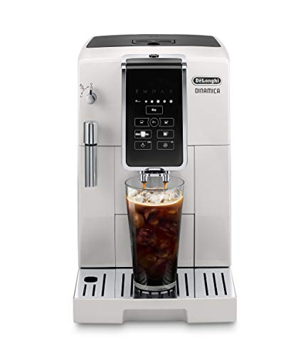 De'Longhi Dinamica Automatic Coffee & Espresso Machine TrueBrew (Iced-Coffee), Burr Grinder + Descaling Solution, Cleaning Brush & Bean Shaped Icecube Tray, White, ECAM35020W