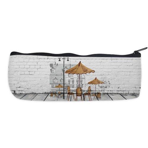 Pared Pintura calle sol paraguas asiento nailon Oxford pluma lápiz funda bolsa de alta calidad (