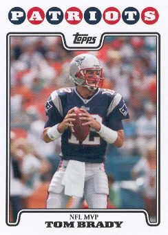 New England Hobby (2008 Topps # 328 Tom Brady MVP Most Valuable Player - New England Patriots - NFL Trading)