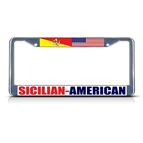 Sicilian American 2 Metal License Plate Frame Tag Border Two Holes Perfect for Men Women Car garadge Decor
