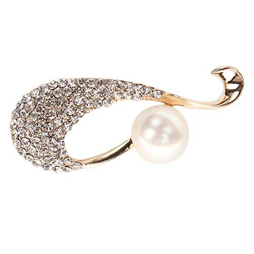 Crystal Simulated Pearl Brooch (sourjas Fashion Pearl Jewelry Clear Crystal Simulated Pearl Luxury Art Deco Bridal Brooch Pin Gold-Tone)