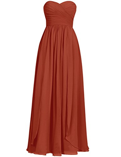 Cdress Long Bridesmaid Dresses Chiffon Prom Evening Dress Sweetheart Wedding Party Gowns Rust_Red US 28W
