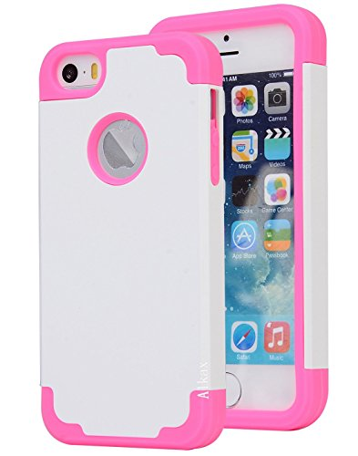 iPhone SE Case , iPhone 5S Case , iPhone 5 Case ,Alkax Dual Layer Armor Heavy Duty Rugged Slim Fit Hybrid Soft-Interior+Hard Protective Cover Bumper for Apple iPhone SE + 1 Stylus Pen (White / Pink) (Lifeproof Iphone 5 Case Vs Otterbox Defender)