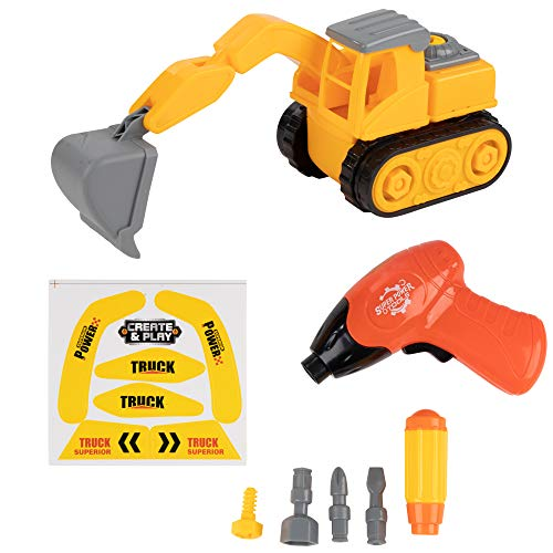 Juvale Kids Construction Truck Toy - 7-Piece Take Apart Excavator Set with Stickers, Electric Drill, Tools, Digging Equipment, Includes Storage Box, Best Gift for Children from Juvale