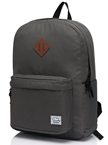 VASCHY Lightweight Backpack for School, Classic Basic Water Resistant Casual Daypack for Travel with Bottle Side Pockets (Gray)