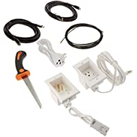 PowerBridge ONE-CK-IKH2 Single Outlet Recessed In-Wall Cable Management System, Two 10-Foot High-Speed HDMI Cables (Latest Standard), Plus Drywall Saw and Cable-Puller Bundle