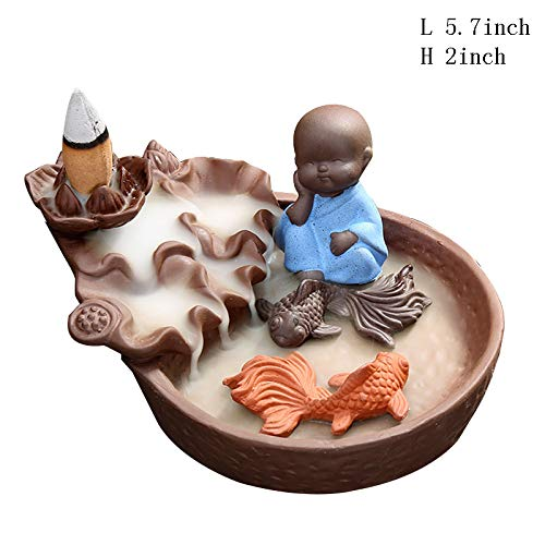 Incense Burner,Sandalwood Furnace Zen Buddhist Incense Burner Small Monk Reflux Incense Furnace Pisces Household Incense Furnace Tabletop Decorative-Pisces 5.7inch ()