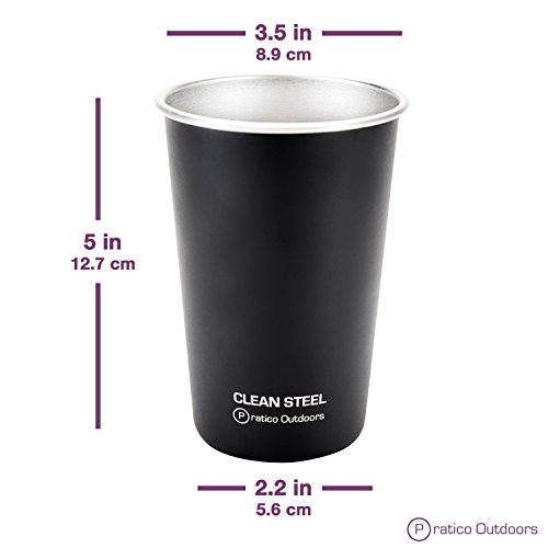 Clean Steel Stainless Steel Cups - Multi-purpose 16 oz Pint Glasses Made from BPA Free Premium 18/8 Electropolished SS Metal (Set of 5 - 473 ml) - Black