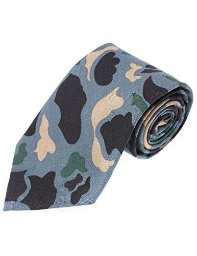 FLATSEVEN Mens Designer Cotton Military Camo Pattern Neck Tie (YA001) -