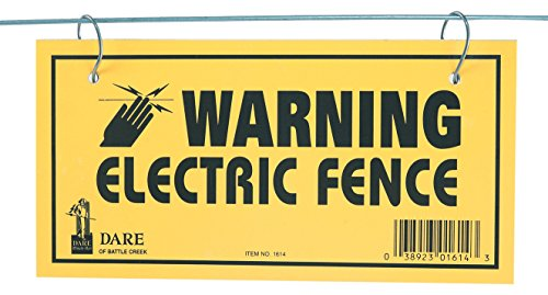 DARE PRODUCTS 1614-3 185809 Electric Fence Warning Sign (3 Pack), Yellow Fence Warning Sign
