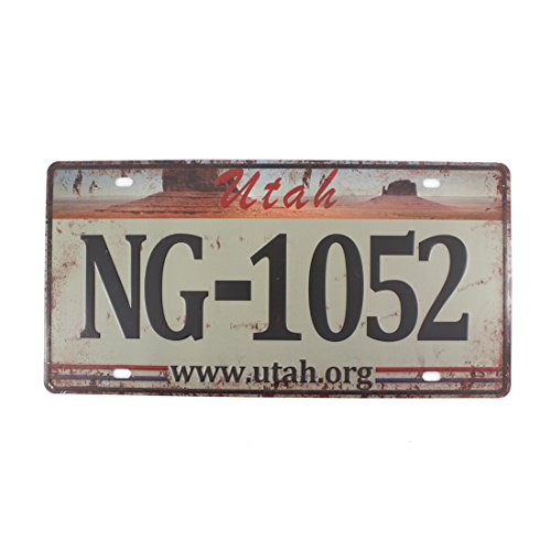 6x12 Inches Vintage Feel Rustic Home,bathroom and Bar Wall Decor Car Vehicle License Plate Souvenir Metal Tin Sign Plaque (Utah NG-1052) (Halloween Displays In Utah)