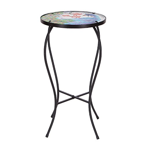 Plant Table - Adeco Round Side Table Plant Stand Flower Holder Accents Serving Snack Tea, Embossed Artistic Pattern Glass Top