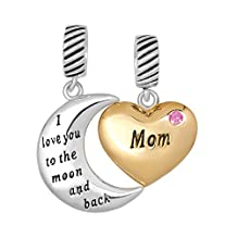 Sterling Silver Mom I Love You To The Moon And Back Crystal Heart Charms Beads For Bracelets