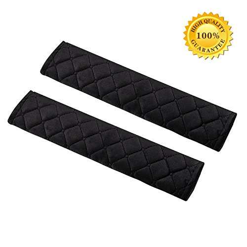 Seatbelt Pads,Car Belt Protector,Carsemoo Seat Belt Shoulder Strap Covers Harness Pads For Car/Bag,Soft Comfort Helps Protect You Neck And Shoulder From The Seatbelt Rubbing/Lrritation (Black 2-Pack) ()