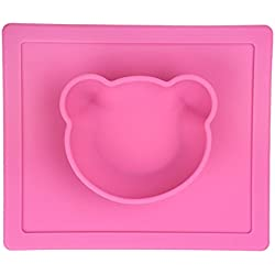 Freerun Silicone Placemat Bowl No Spill, Strong Suction, Non Skid Food Grade Silicone Pet Bowl (Pink)