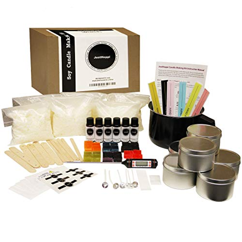 JustHoppi Complete DIY Candle Making Kit Supplies - Create 6 Scented & Colored Soy Candles - Full Beginners Set with 3 LB Wax, Tins, Unique Scents/Dyes, Wicks, Glue Dots, Melting ()