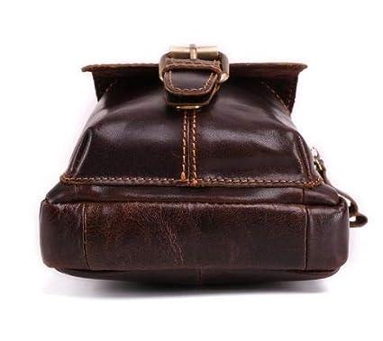 Brown Genuine Leather Small Bags Mens Shoulder Messenger Bag Multifunction Waist Pack Pouch Mens Crossbody Vintage Waist Bag