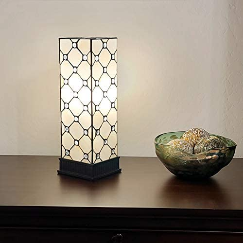 Amora Lighting Tiffany Style Table Lamp Banker White Yellow Jeweled Stained Glass Bedside Vintage Antique 18″ Tall 5″ Wide Handmade Gift AM105TL06B