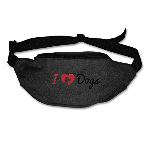 Amkong Fashion Fanny Pack Waist Bags I Love Dogs Fanny Pocket Adjustable Hip Bag Waist Pack