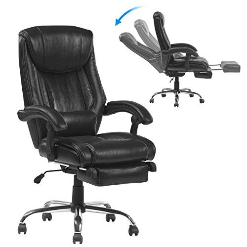 - YAMASORO Ergonomic Reclining Office Chairs High-Back Leather Computer Gaming Desk Chairs with Footrest Big and Tall Black