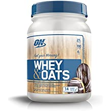 OPTIMUM NUTRITION Whey & Oats Protein Powder, Breakfast Or Anytime High Protein and High Fiber Shake, Chocolate Glazed Donut, 14 Servings
