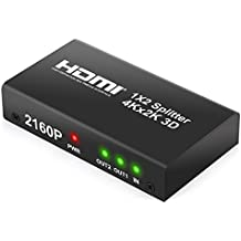 Neoteck 2 Way HDMI Splitter 2160P 4Kx2K HD Hub Smart Splitter Box HDMI Splitters 1 in 2 out 3D Active Amplifier Switcher for HDTV PC SKY Box Projector PS2 PS3 PS4 XBox360 Blu-ray DVD